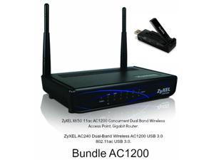 ZyXEL X650 11ac AC1200 Dual Band Wireless Access Point Gigabit Router + USB AC240