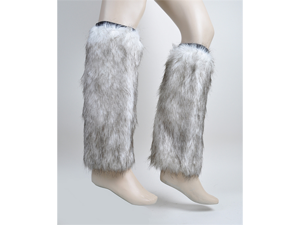 New Women's White Faux Fur Leg Warmers - FLW1001