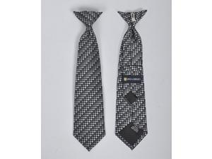 New Boy's Silver 14 Inch Microfiber Woven Clip On Tie - MPBC2005