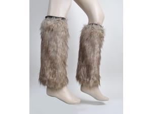 Women's Brown Faux Fur Leg Warmers - FLW1001