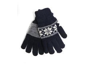 Men's Navy Knit Snowflake Winter Gloves GM1000