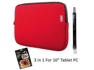"OBIEN 3 In1 Essential For 10"" Tablet PC With 10"" Sleeve, Stylus, Clean Pad (Red)"