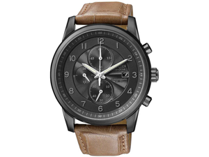 Citizen CA0335-04E Eco-Drive Stainless Steel Case Chronograph Black Dial Date Display Brown Leather Strap