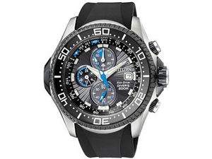 Citizen Men's Eco-Drive Chronograph Black Textured Dial Black Rubber BJ2115-07E