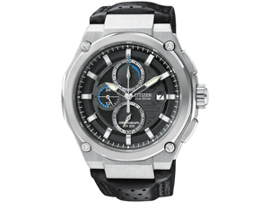 Citizen CA0310-05E Stainless Steel Eco-Drive Chronograph Black Dial Leather Strap