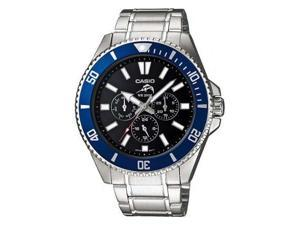 Casio Men's MDV303D-1A2V Silver Stainless-Steel Quartz Watch with Black Dial