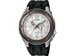 Casio Men's MTP1326-7A3V Black Resin Quartz Watch with Silver Dial
