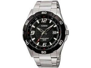 Casio Men's MTP1292D-1AV Silver Stainless-Steel Quartz Watch with Black Dial