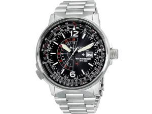 Citizen Nighthawk Eco-Drive Pilot BJ7000-52E Men's Black Dial Stainless Steel Analog Watch