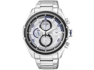 Citizen Men's Eco-Drive CA0120-51A Silver Stainless-Steel Quartz Watch with White Dial
