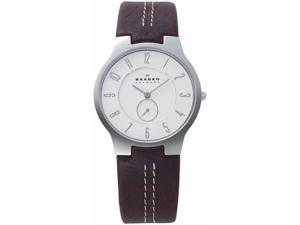 Skagen Slimline Steel Brown Strap Mens Watch 433LSL1
