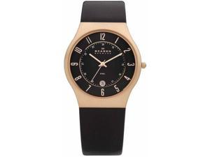 Skagen Slimline Black Dial Black Leather Mens Watch 233XXLRLB