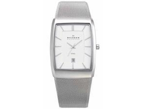 Skagen Silver Rectangular Case Men's watch #690LSSC