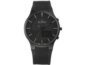 Skagen 852XLSRM Stainless Steel Case Black Digital-Analog Dial Rubber Strap