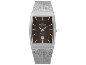 Skagen Steel Mesh Date Window Charcoal Dial Men's watch #690LSSM