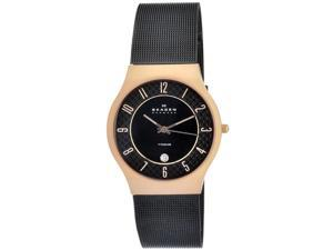 Skagen Titanium Mesh & Rose-gold Black Dial Men's watch #233XLTRBC