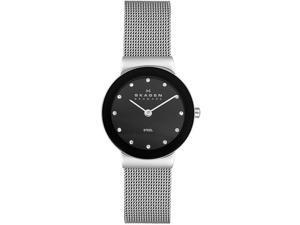 Skagen Black Glitz Dial Ladies Steel Watch 358SSSBD