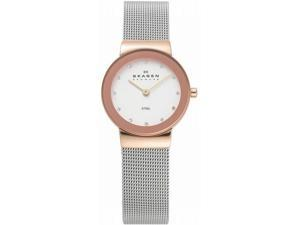 Skagen Glitzy Two-tone on Mesh White Dial Women's watch #358SRSC