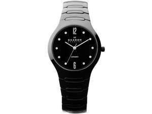 Skagen Black Ceramic Swarovski Crystal Ladies Watch 817SBXBC