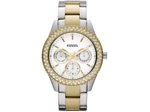Fossil Stella White Dial Two-tone Stainless Steel Ladies Watch ES2944