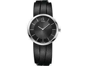 Women's Black Calvin Klein ck Extent Leather Strap Watch K2R2M1C1