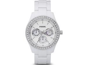 Fossil Women's ES1967 White Plastic Quartz Watch with White Dial
