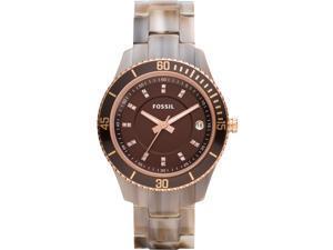 Fossil Stella Brown Dial Brown Resin Ladies Watch ES3090