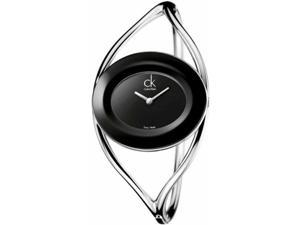 Calvin Klein Women's K1A23602 Silver Stainless-Steel Quartz Watch with Black Dial