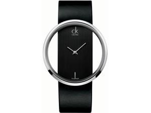 Calvin Klein Black Leather Band Ladies Watch K9423107