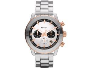 Fossil Men's Keaton CH2815 Silver Stainless-Steel Quartz Watch with White Dial