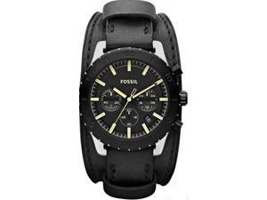 Fossil Men's Keaton JR1394 Black Leather Quartz Watch with Black Dial