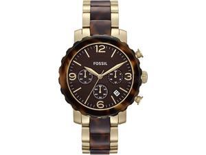Fossil Men's Natalie JR1382 Two-Tone Stainless-Steel Quartz Watch with Brown Dial
