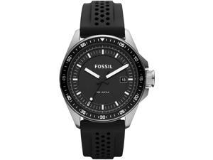 Fossil Men's Decker AM4384 Black Silicone Quartz Watch with Black Dial