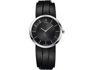 Women's Black Calvin Klein ck Extent Leather Strap Watch K2R2L1C1