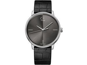 Women's Black Calvin Klein ck Accent Leather Strap Watch K2Y2X1C3