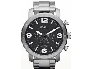 Fossil JR1353 Men's Silver Stainless-Steel Analog Quartz Watch with Black Dial