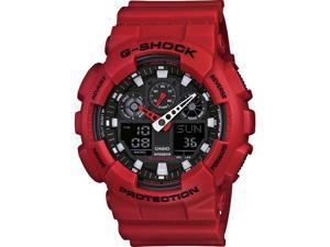 Red Casio G-Shock Analog Digital Watch GA100B-4A