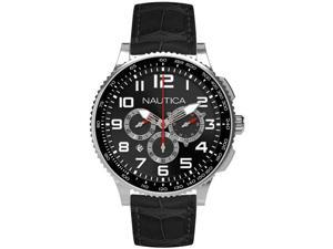 Nautica N22596M Men's Black Dial Leather Chronograph Watch