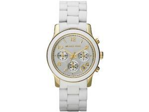 Michael Kors Women's Chronograph White Polyurethane/Yellow Gold Tone