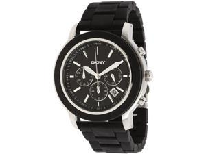 DKNY Men's NY1493 Black Plastic Quartz Watch with Black Dial