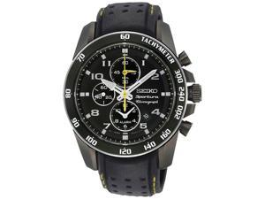 Seiko SNAE67 Sportura Alarm Chronograph Black Dial Vented Leather Strap
