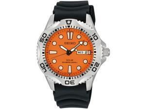 Seiko SNE109 Men's Quartz Orange Dial Black Rubber Strap Watch