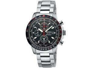 Seiko Solar Black Dial Chronograph Stainless Steel Mens Watch SSC007
