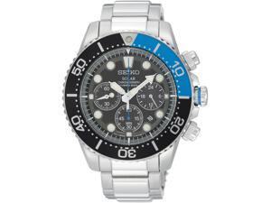 Seiko SSC017 Stainless Steel Solar Quartz Chronograph Black Dial Black and Blue Bezel