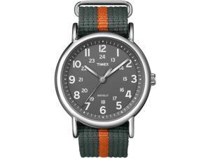 Timex Weekender Grey Dial Grey Nylon with Orange Stripe Unisex Watch T2N649