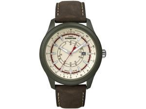 Timex Men's Simplexity T49921 Brown Leather Quartz Watch with Yellow Dial