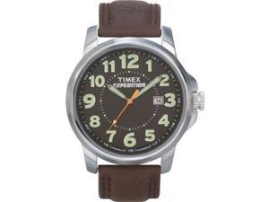 Timex Men's T44921 Brown Leather Quartz Watch with Black Dial