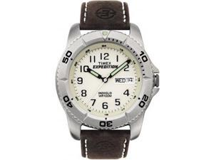 Timex Men's T46681 Brown Leather Quartz Watch with White Dial