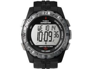 Timex Men's T49851 Black Resin Quartz Watch with White Dial