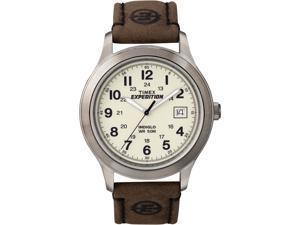 Timex Men's Expedition T49870 Brown Calf Skin Analog Quartz Watch with White Dial
